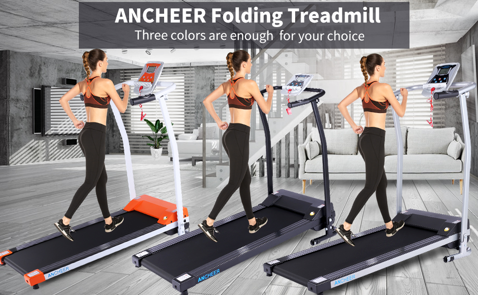 ANCHEER Folding Treadmill, Treadmills for Home with LCD Monitor Motorized